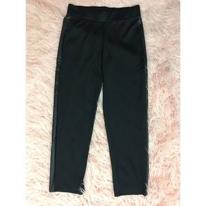 Sunny Leigh Black Faux Leather Stripe Pull Pants